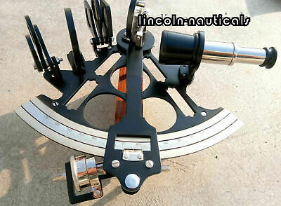 """Nautical Solid Brass Black Coating Powder Sextant 8"""" Working Reproduction Item."""
