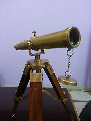 Antique Brass Telescope With Wooden Tripod Stand Nautical Collectible Desk Decor