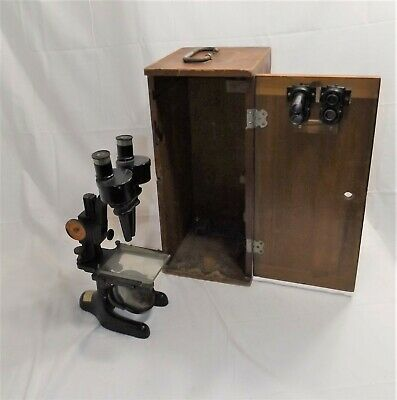 Antique Vintage Bausch & Lomb Stereo Microscope # 186319, w/ Case, Rochester NY