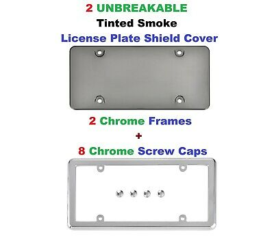 8 CHROME SCREW CAPS Trunknets Inc 2 FLAT UNBREAKABLE TINTED SMOKE LICENSE PLATE SHIELD COVERS 2 CHROME FRAMES