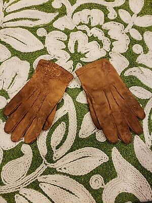Antique Leather Tiny Small  Gloves Child Doll Size