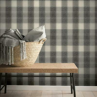 Charcoal Grey Mono Country Check Wallpaper by Arthouse 906703