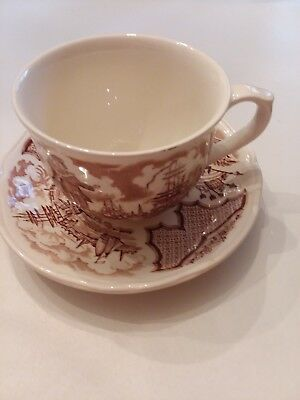 Alfred Meakin Fair Winds Brown Tea Cup & Saucer
