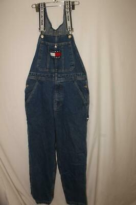 397e1294 VINTAGE Tommy Hilfiger Overalls Mens Small Blue Big Flag Spell Out Mens 90's  vtg
