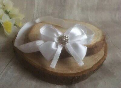 Baby Girl Pure White Christening Headband Baptism Wedding Satin Bow Hairband