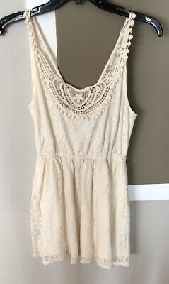 c8986b8f28 FOREVER 21 IVORY Lace Women s Sleeveless Dress Juniors Size Small ...