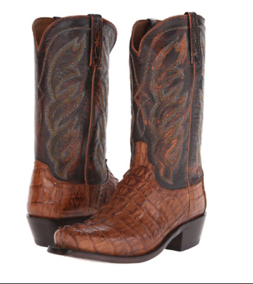 7a1bc9b4b9f LUCCHESE MEN'S LANDON Caiman Tail Cowboy Boots Narrow Square Toe M2691