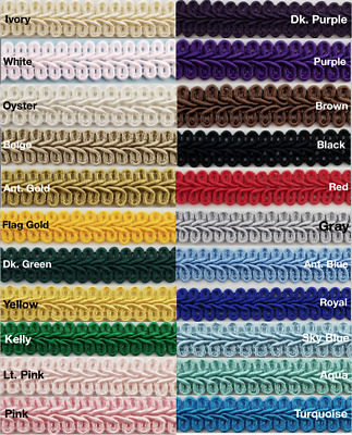 "1/2"" Chinese French Braid Gimp Trimming - 12 Continuous Yards - Many Colors!"