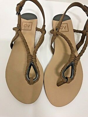 44fc3ce193fe5 Dolce Vita Flat Brown Sandal Dixin Braided Leather Thong Sandals Size 8.5