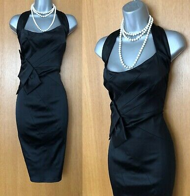 Kleider Black Ruch Diamond Textured Wiggle Pencil Office Shift Smart Dress Size 10 To 18 Kleidung & Accessoires