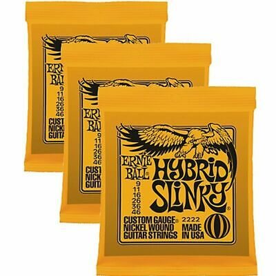 Ernie Ball 2222 Hybrid Electric Guitar Strings 9 - 46 3 sets
