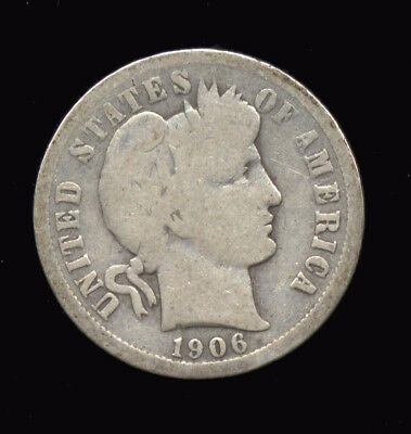 1906  ...  BETTER DATE  ...  Barber Head Dime (477-410*) -- FREE SHIPPING