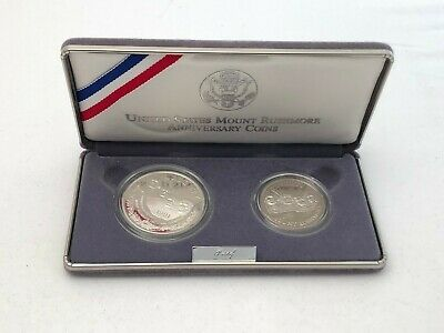 1991-S Mount Rushmore Anniversary Commemorative 2-Coin Proof Set Silver Dollar