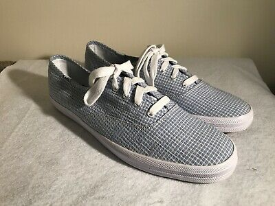 20acb57bb11 NEW KEDS Champion Oxford Canvas Sneaker Tennis Shoes Blue White Check Women  9.5