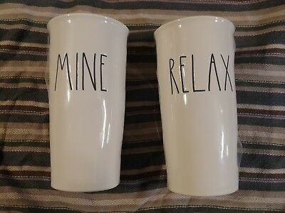 """NEW Rae Dunn """"MINE"""" and """"RELAX"""" Coffee Travel Mugs Tumbler Ceramic with Lids"""