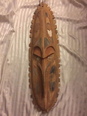 Huge Old Papua New Guinea  Carved Wooden Mask / Wall Hanging…100CM-TALL