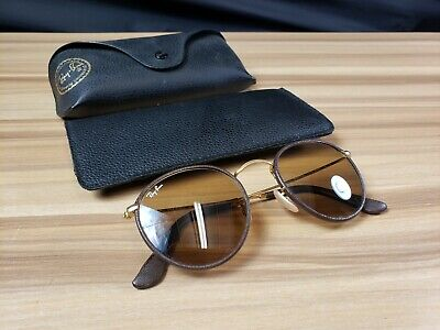 0a518a4e3a6 Ray Ban RB3475Q Leather Round 112 53 Matte Gold   Brown Sunglasses  I-