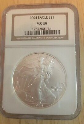 2004 NGC Silver Dollar Coin MS69 1oz. .999 Silver American Eagle