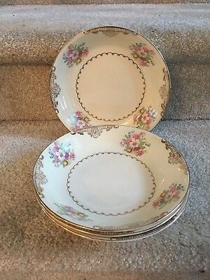 """4 Paden City Soup Salad Pasta 8"""" Coupe Bowls Pink BlueYellow Flower Scroll PCP93"""