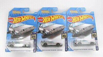 2017 Lots of 3 Hot Wheels Back to the Future Time Machine Hover Mode Delorean
