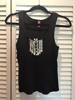 347ae850ae3917 Betsey Johnson Tank Top Size Small Black with White Lace Buttons Pink Bow  Cotton