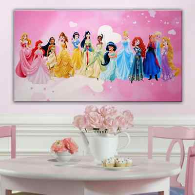 Disney Princesses Canvas Wall Art Picture  18 X 32 Inch  Framed
