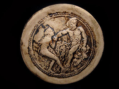 Amazing Greek Style Terracotta Replica Plate, Hercules And Avge!!!