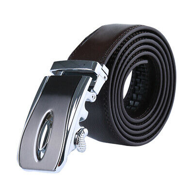 """Mens Automatic Leather Belt with Double Stitch Edge Wide 1 1/2"""" Black 110cm"""