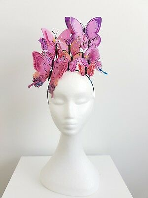 Miss Butterfly womens fashion butterfly headband fascinator in Light Pink