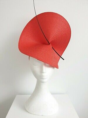 Miss Moneypenny  womens large disk headband fascinator in Red