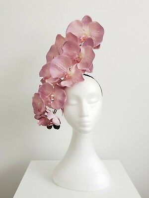 Miss Aura womens headband orchid flower fascinator in Pastel lilac / pink