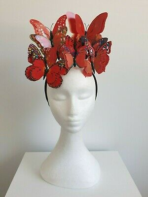 Miss Butterfly womens fashion butterfly headband fascinator in Bright Red