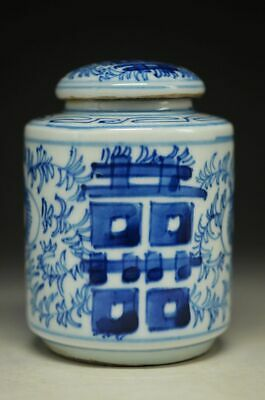 JINGDEZHEN ARCHAIZE PORCELAIN HAND-PAINTED BLUE AND WHITE 喜 TEA CANISTER    yt20