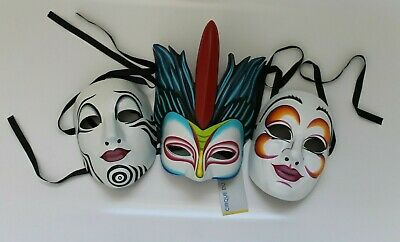 """Three (3) Collectable Cirque Du Soleil Masks (New) - """"O"""",""""Mystere"""",""""Saltimbanco"""""""