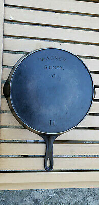 Antique Wagner Sidney O 11 Cast Iron Skillet Arch Logo Heat Ring HTF Rare Vtg OH
