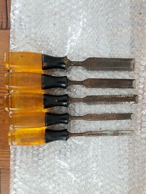 STANLEY VINTAGE YELLOW RESIN WOODWORKING CHISELS x 5