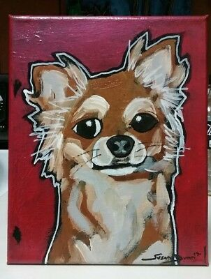 ABSTRACT ORIGINAL CHIHUAHUA Dog Painting Susan Dunn South Carolina
