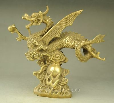 Chinese old FengShui Copper Lucky Fly wing Dragon beast Auspicious Statue e02