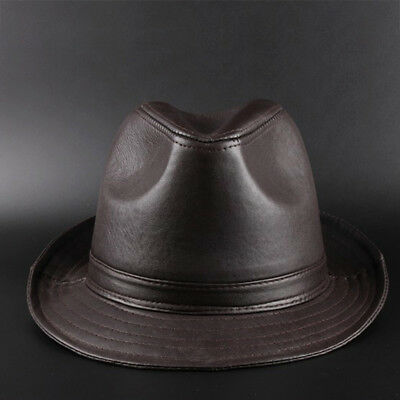 Fashion Faux Leather Men's Fedora Trilby Hat Gentleman Spring Church Panama Caps