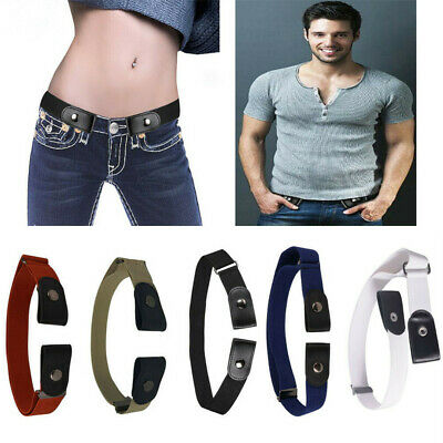 Men Women Buckle-free Elastic Adjustable Invisible Belt Jean Pants Trousers Use