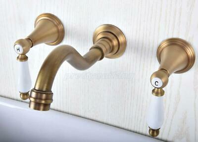 Antique Brass Bathroom Sink Faucet 3Pcs Basin Vessel Faucet Mixer Tap Wall-mount