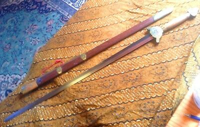 Vintage Chinese weapon collection - sword, pair of fighting fans, walking stick