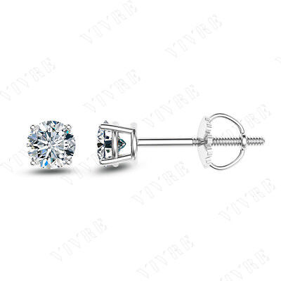 1/4ct Round Cut Diamond 14k Real White Gold Solitaire Stud Earrings Screw Back