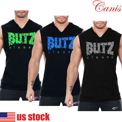 fbc8f15ca4295 Men Gym Clothing Bodybuilding Stringer Hoodie Tank Muscle Hooded Shirt Vest  Tops