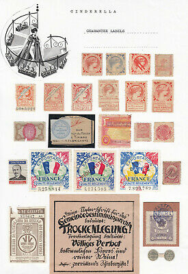 Worldwide - GUARANTEE STAMPS / LABELS (20+ cinderella collection)