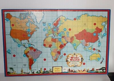 """VINTAGE 1957 Wide World Travel Game-board Map Only, Shows USSR 16.5"""" x 26.5"""""""