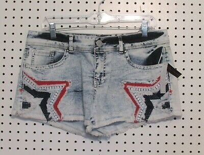 Tractor Free Post Girls Acid Wash Denim Roll Up TRACTR Jean Shorts
