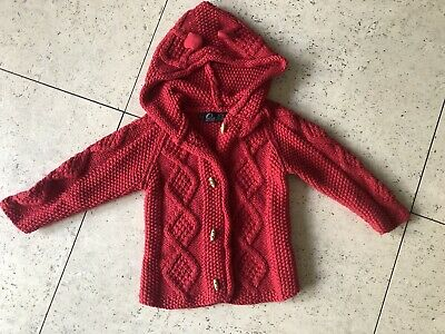 OOBI Unisex Red Cotton Hooded Cable Knit Jacket/Cardigan Size 3-4 VGUC