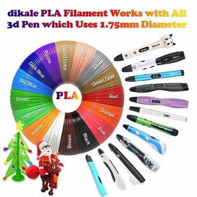 PLA 3D Printer Pen Filament (1.75mm) Packs - 20 Colors, 10m Each (200m Total) E3