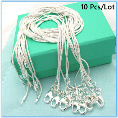 10PCS Wholesale 925 Sterling Solid Silver 1MM Snake Chain Necklace For Pendants